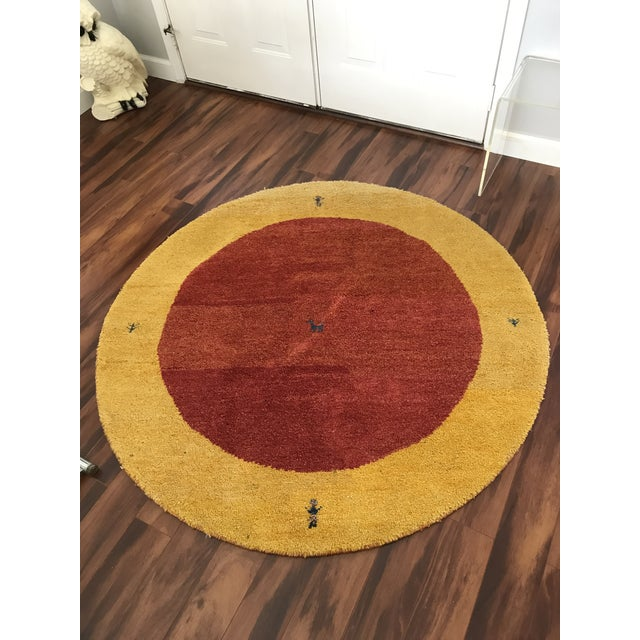 Very cool and unique, vintage 100% wool rug Imported and hand made for Classic Concepts California. Cute inlaid dog in the...