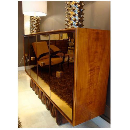 Art Deco Osvaldo Borsani Rare Sideboard in Mirror and Cherrywood and Oak For Sale - Image 3 of 8