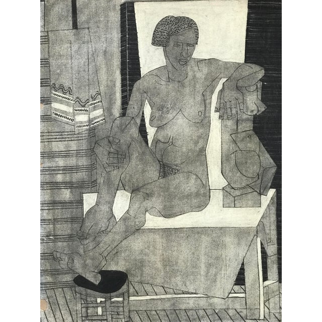 1929 Cubist Charcoal Nude Drawing For Sale - Image 9 of 9