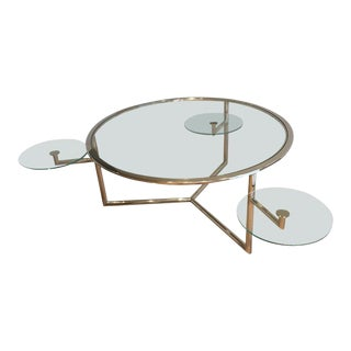 Round Chrome Coffee Table With Three Pivoting Glass Shelves