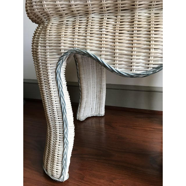 Boho Chic Boho Chic White Washed Wicker Side Table For Sale - Image 3 of 9