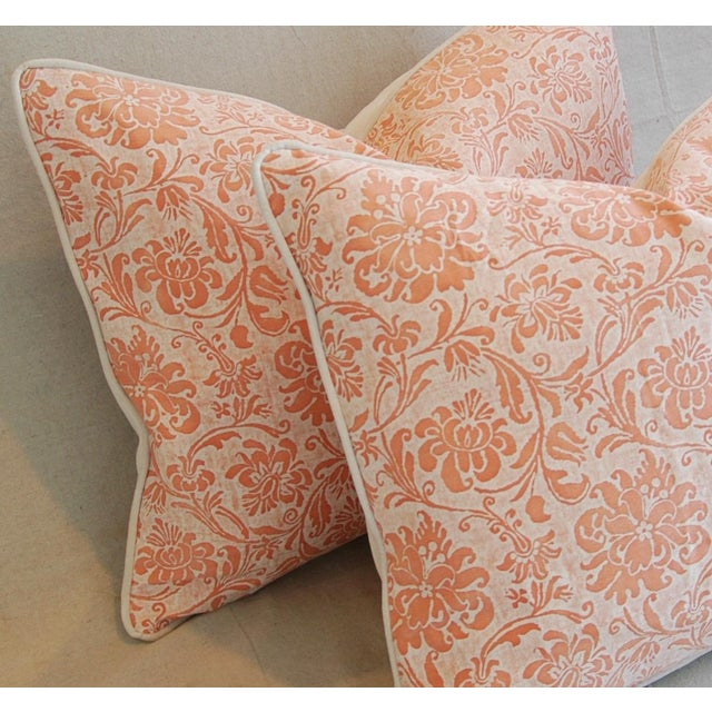 Orange Designer Italian Fortuny Cimarosa Feather/Down Pillows - a Pair For Sale - Image 8 of 10