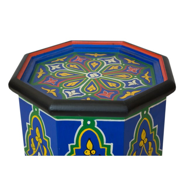 Blue Dari Hand-Painted Side Table - Image 3 of 5