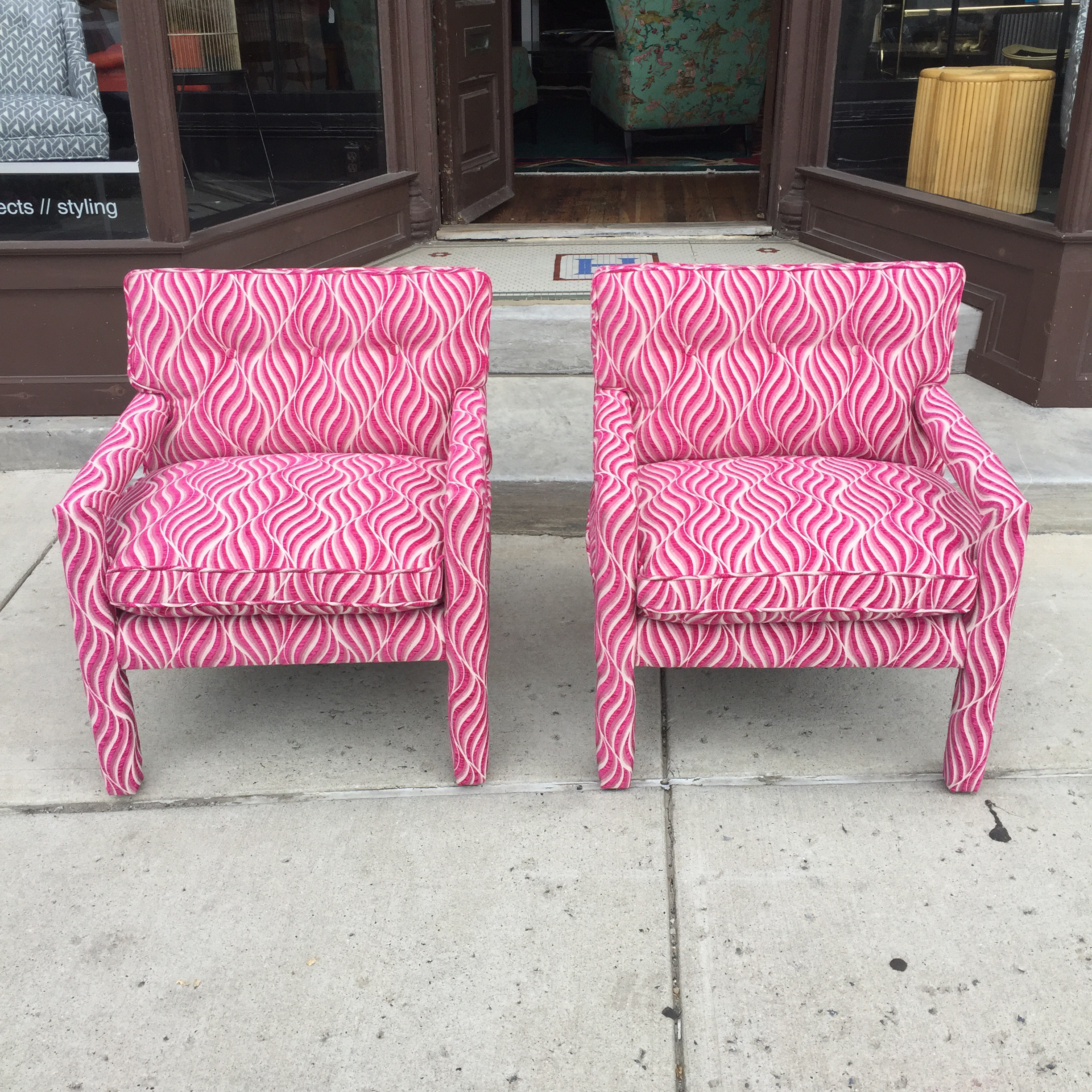 Fuschia furniture Magenta Painted Hollywood Regency Fuschia Pink White Animal Print Parsons Chairs Pair For Sale Chairish Fuschia Pink White Animal Print Parsons Chairs Pair Chairish