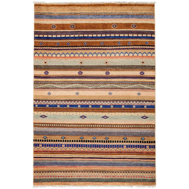 """Lori, Hand Knotted Area Rug - 4'2"""" X 6'3"""" For Sale"""