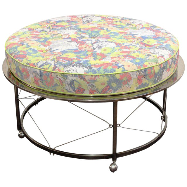 Mid Century Vintage Chrome Frame Ottoman With Pop Art Embossed Leather Upholstery For Sale