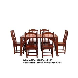 Chinese Yellowish Brown Rosewood Rectangular Dining Table Set 6 Chairs Preview