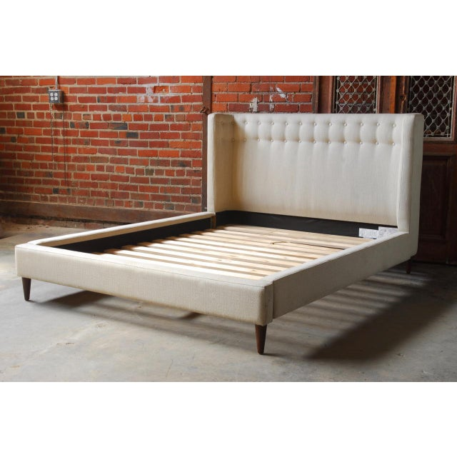 Crate And Barrel Linen Upholstered Platform Queen Gia Bed Chairish