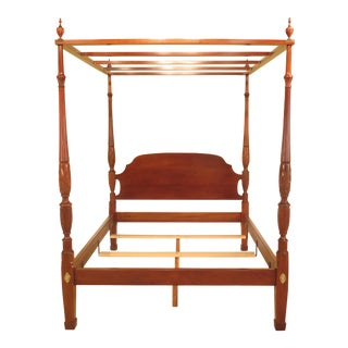 Stickley Queen Size Rice Carved Mahogany Poster Bed