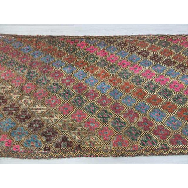 Vintage Turkish Embroidered Kilim Rug- 4′10″ × 10′2″ - Image 4 of 6