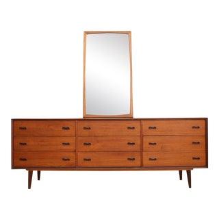Vintage Danish Teak Dresser with Mirror by Aksel Kjersgaard For Sale