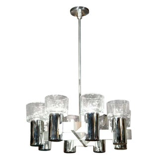 Lightolier Chrome and Glass Chandelier For Sale