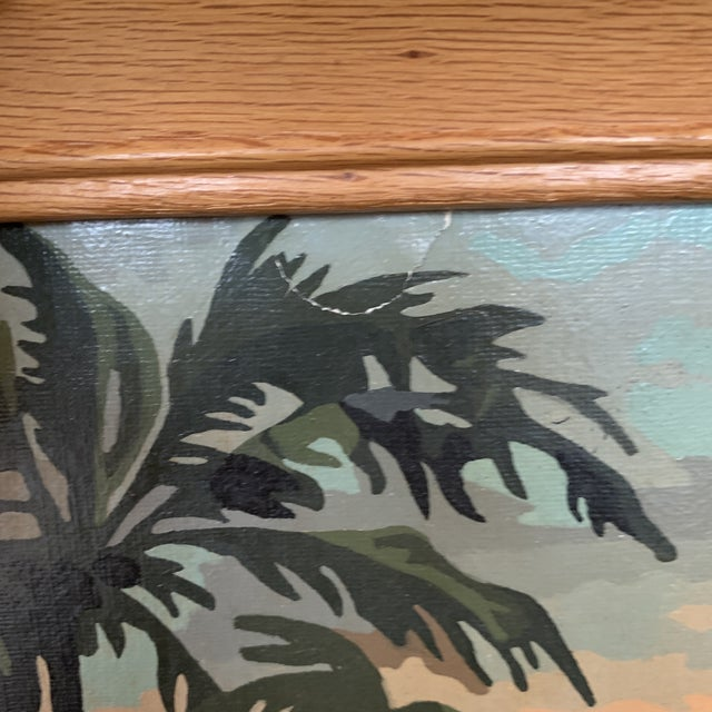 Mid 20th Century Palm Trees Paint by Numbers in Frame For Sale - Image 5 of 6
