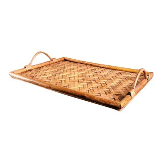 "Mid Century Vintage Bohemian 18"" Bamboo & Rattan Serving Tray For Sale"