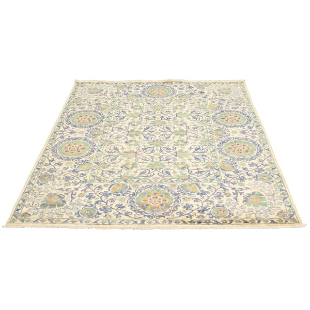 Style of the rug : Souzani Construction: Hand-Knotted Condition: Excellent, cleaned and washed , no tear, ready to use.
