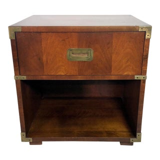 Mahogany & Brass Henredon Campaign Style Nightstand For Sale