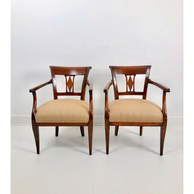 Italian Neoclassical Armchairs C. 1830 - a Pair For Sale In San Francisco - Image 6 of 6
