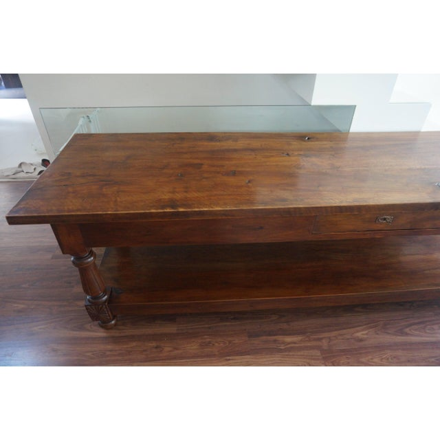 Large 19th Century Spanish Refectory Walnut Farm Draper´s Table or Console For Sale - Image 4 of 10