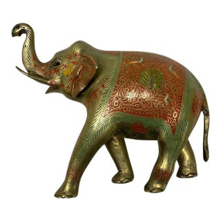 20th Century Metal Enameled Elephant For Sale