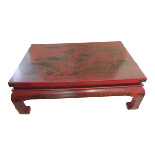 Monumental Chinese Cinnabar Lacquer Coffee Table