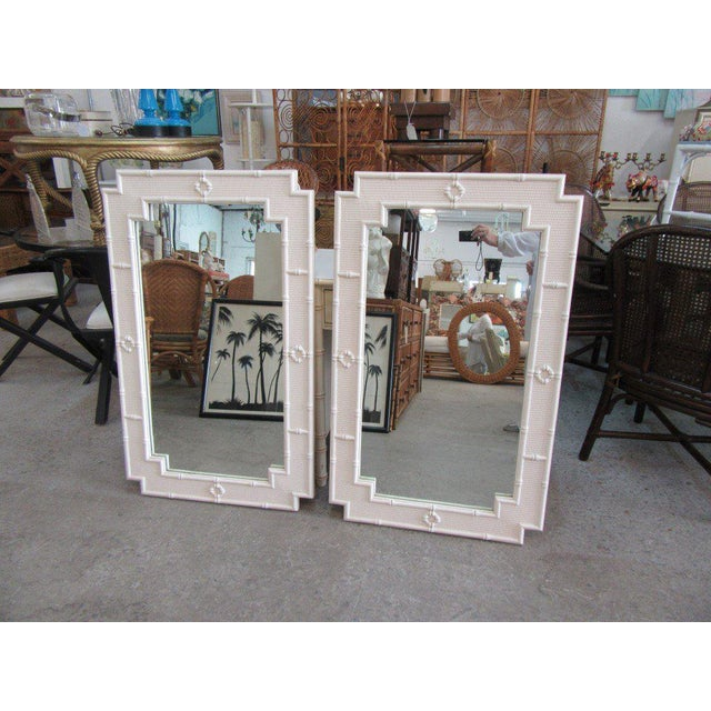 Palm Beach White Faux Bamboo Mirrors - a Pair For Sale - Image 4 of 4