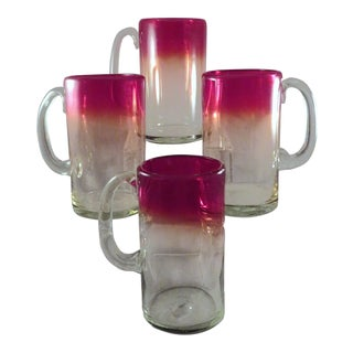 1970s Italian Red to Clear Ombre Tall Blown Glass Beer Mugs With Applied Handles - Set of 4