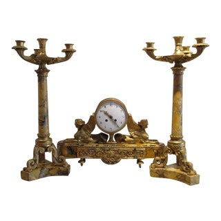 Antique 19th Century French Marble Bronze Mantle Clock Garniture by C. V. Hour For Sale