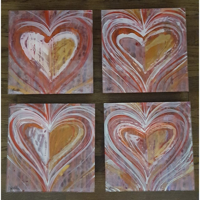 Christopher Martin Heart Paintings - Set of 4 - Image 10 of 10