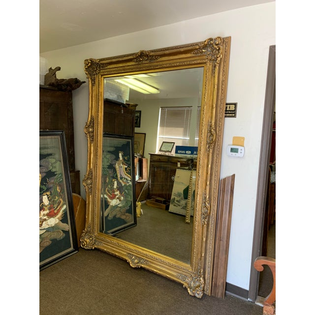 Louis XIV Style Gold Leaf Beveled Glass Mirror For Sale - Image 4 of 11