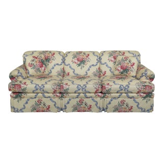 1990s Vintage Ethan Allen Yellow Floral Upholstered Sofa For Sale