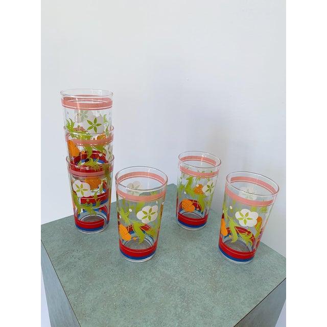 Boho Chic Vintage 1950s Floral Kitsch Drinking Glasses - Set of 6 For Sale - Image 3 of 10