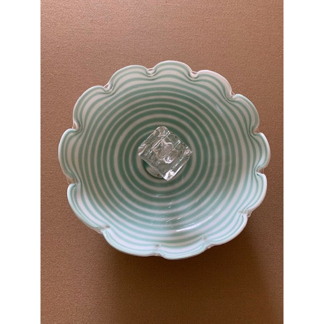 Incredible Fratelli Toso candy dish. Scalloped edge with green swirl pattern. Excellent condition.