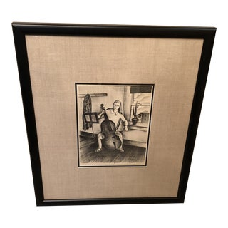 Mid 20th Century Sketch of Girl Playing a Cello, Framed For Sale
