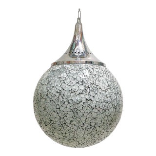Crackled White Glass Globe Pendants by Fabio Ltd For Sale