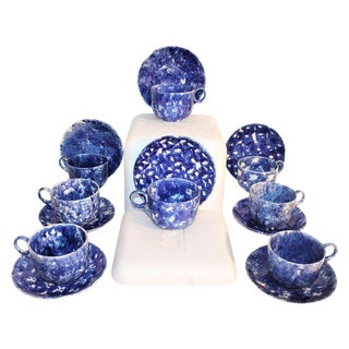 19th Century Sponge Ware Mush C&S Collection Dinnerware - 8 Pieces For Sale