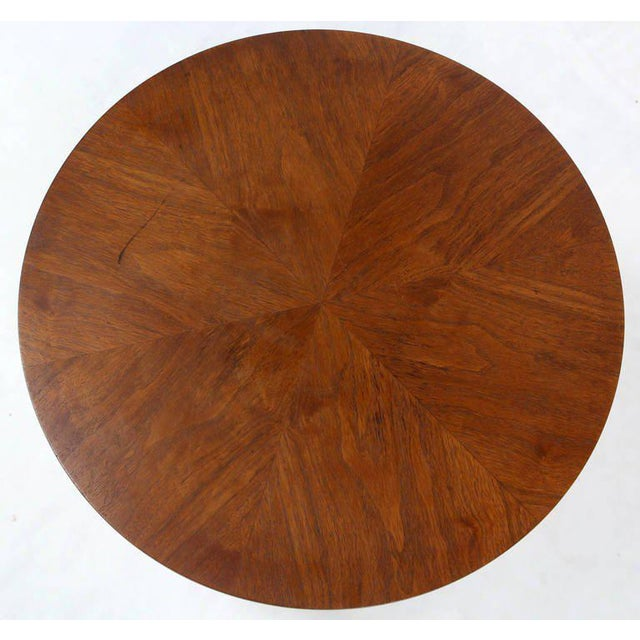 Mid-Century Modern Solid Walnut Weighted Base Round Side Table - Image 5 of 10