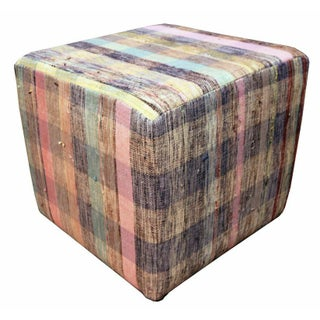 Cube Ottoman in Black, Tan, Pink, and Turqouise