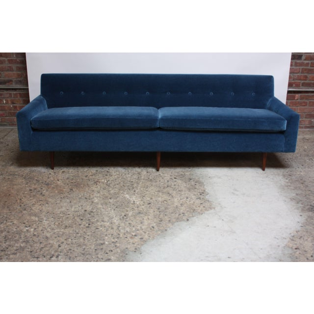 Mohair Milo Baughman for Thayer Coggin Walnut Sofa in Blue Mohair For Sale - Image 7 of 13