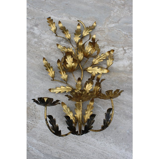 Boho Chic Vintage Italian Gilt Toleware Wall Candelabra / Sconce For Sale - Image 3 of 5