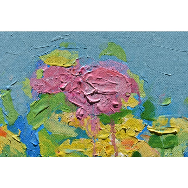 "Stephen Remick Abstract ""Bouquet on a Blue Ground"" Painting by Stephen Remick For Sale - Image 4 of 13"