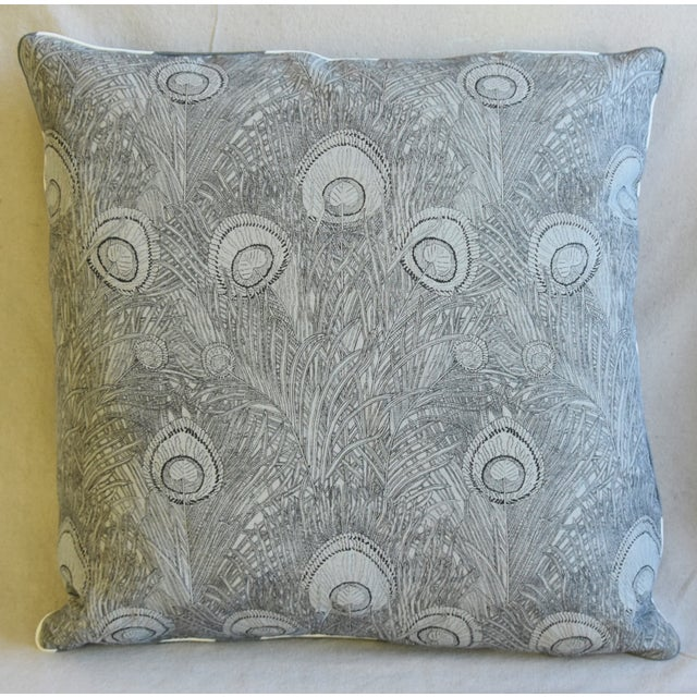 "Abstract Peacock Feather Linen Feather/Down Pillows 21"" Square - Pair For Sale - Image 3 of 13"