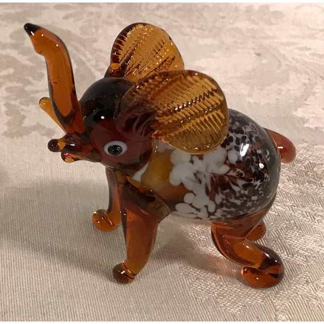Vintage Blown Art Glass Brown Elephant - Image 4 of 8