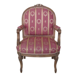 French Louis XV Style Open Arm Upholstered Chair