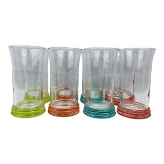 Late 20th Century Fiesta Color-Banded Tall Glasses, Set of 8 For Sale