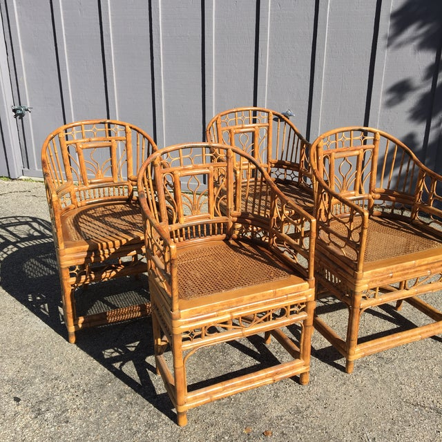 Asian 1970s Vintage Brighton Pavilion Bamboo, Ratan and Cane Chairs- Set of 4 For Sale - Image 3 of 13