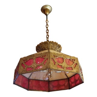 Antique Victorian Chandelier Red & Honey Caramel Slag Glass Shade Solid Brass All Original Condition For Sale