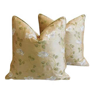 """Custom Tailored Embroidered White Rose Silk Feather/Down Pillows 24"""" Square - Pair For Sale"""