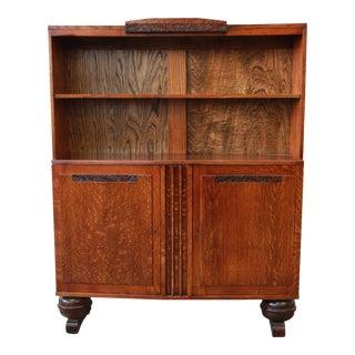 Antique French Art Deco Oak Bookcase
