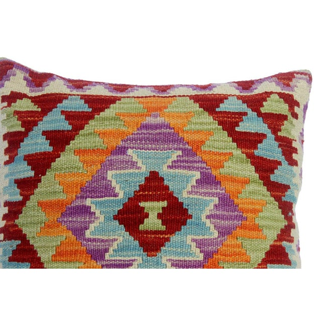 "Chelsey Red/Purple Hand-Woven Kilim Throw Pillow(18""x18"") For Sale - Image 4 of 6"