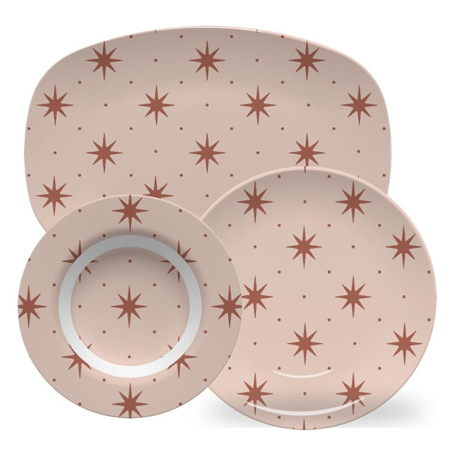 American Chairish x The Muddy Dog Stars Outdoor Plates, Blush, Set of 6 For Sale - Image 3 of 4